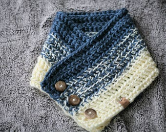 Betty Buttoned Cowl/Scarf/Light Blue and Cream