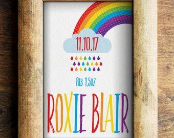 Rainbow Personalised New Baby/ Christening/ Nursery Art/ Birthday Print