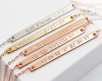 Skinny Long Bar Necklace, Personalized Gift for friend, Gift for Bridesmaid, Custom skinny bar necklace, Coordinates necklace, long bar
