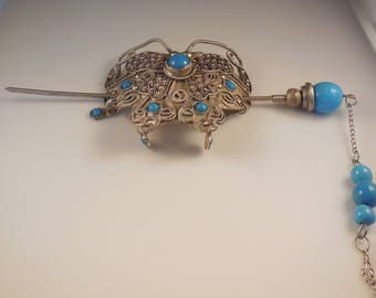 Tibetan Handmade Silver Butterfly Hairpin Turquoise Glass Beads