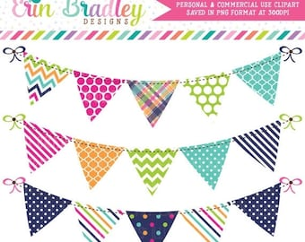 80% OFF SALE Banner Flag Clipart Graphics Pink Orange Green & Blue Bunting Clip Art Personal and Commercial Use