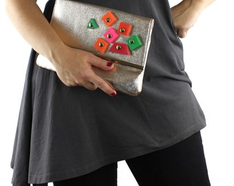 Altered Vintage Gold Vinyl Clutch / Purse with Red Orange Pink & Green Geometric Shapes
