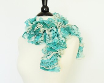Frilly Scarf Knit Fashion Ruffle Scarf Light Teal, Teal, Cream - Womens Scarf, Accessories, Teen Girls Scarf, Gift For Her, Multicolor Scarf