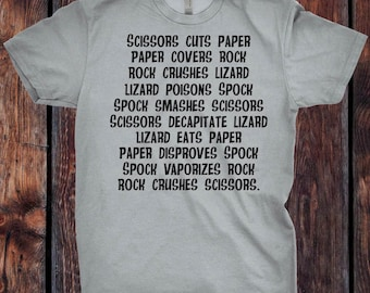 Rock Paper Scissors Lizard Spock Big Bang Theory Inspired T-Shirt - Ink Printed