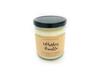 Whiskey Vanilla Scented Soy Candle - 9oz - All Natural Vegan Candles - Vanilla Candles - Man Candles