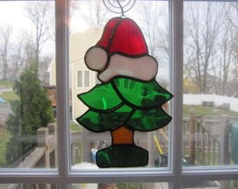 Stained Glass  Suncatcher Santa Tree