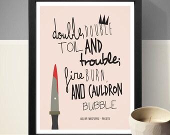 William Shakespeare - Macbeth Quote Print, Wall Art, Home Decor, Typographic Print
