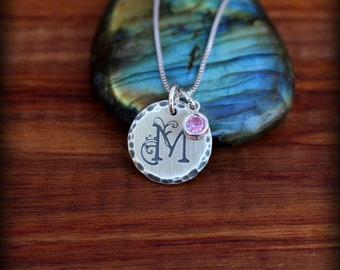 Inintial necklace, Sterling silver monogram necklace