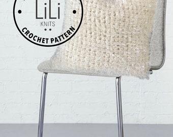 "Pattern | LiLiKnits Easy Chunky Modern Retro Crochet Faux Fur Pillow Pattern 18""  | THE PELOSA PILLOW | Instant Download"