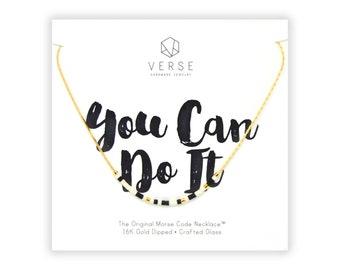 You Can Do It Morse Code Necklace, Encouragement Gift, Motivational, Inspirational, Graduation Gift, Women's Gift, Unique, Travel, Promotion