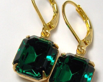 Deep Emerald Green Rhinestone Earrings / May birthstone / gift for her / leverback earrings / Gatsby / Downton / Emerald crystal earrings