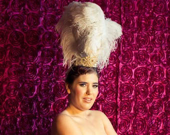 Showgirl Headdress Costume - Ostrich Feathers & Swarovski Crystals - One of A Kind Custom