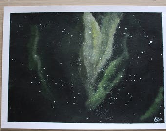 Painting on paper A4 green Galaxy