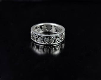 Sterling Silver Ring with Scottish Thistle