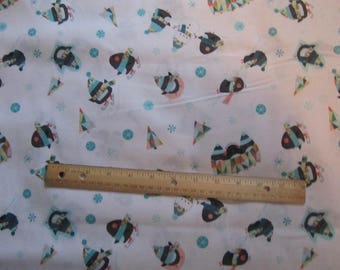 White Penguin/Snowman/Snowflake Toss Cotton Fabric by the Yard