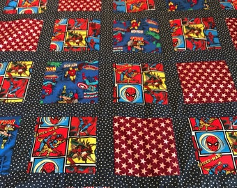 Marvel Comics childrens quilt with stars and stripes design.