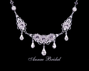 "Bridal jewelry, rhinestone necklace, wedding, Swarovski, silver, ""Royal Princess"" necklace"
