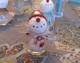 "Tiny 3"" snowman/lady made from vintage salt shaker  Winter wedding decor OOAK"