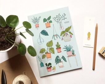 Carnet A5, notebook, A5, cahier avec des lignes, 48 pages, illustrations botaniques avec des plantes