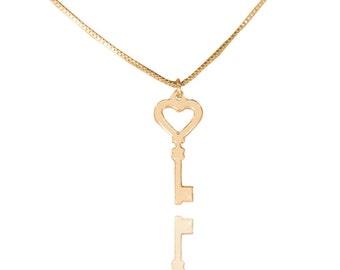 14k gold key necklace heart key necklace giving key necklace  skeleton key necklace gold necklace with key