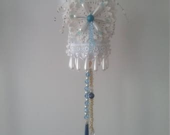 Vintage Bead and Lace hanging, shabby and chic