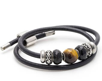 Byzantion, Tiger's eye, Onyx, Bracelet, Elegant, Casual, Black, Steel,