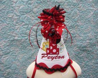 red ladybug birthday party hat, Girls first birthday hat, smash cake hat, 1 st birthday hat,  2nd birthday hat,  red ladybug birthday hat