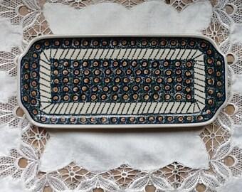 Polish Pottery Serving Platter originates from Boleslawiec, Poland
