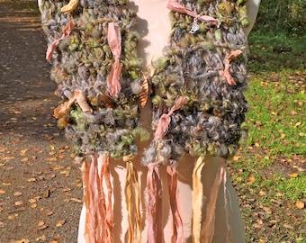 Handspun Chunky Wool Art Yarn Boho Style Scarf / Cowl / Shoulder Wrap