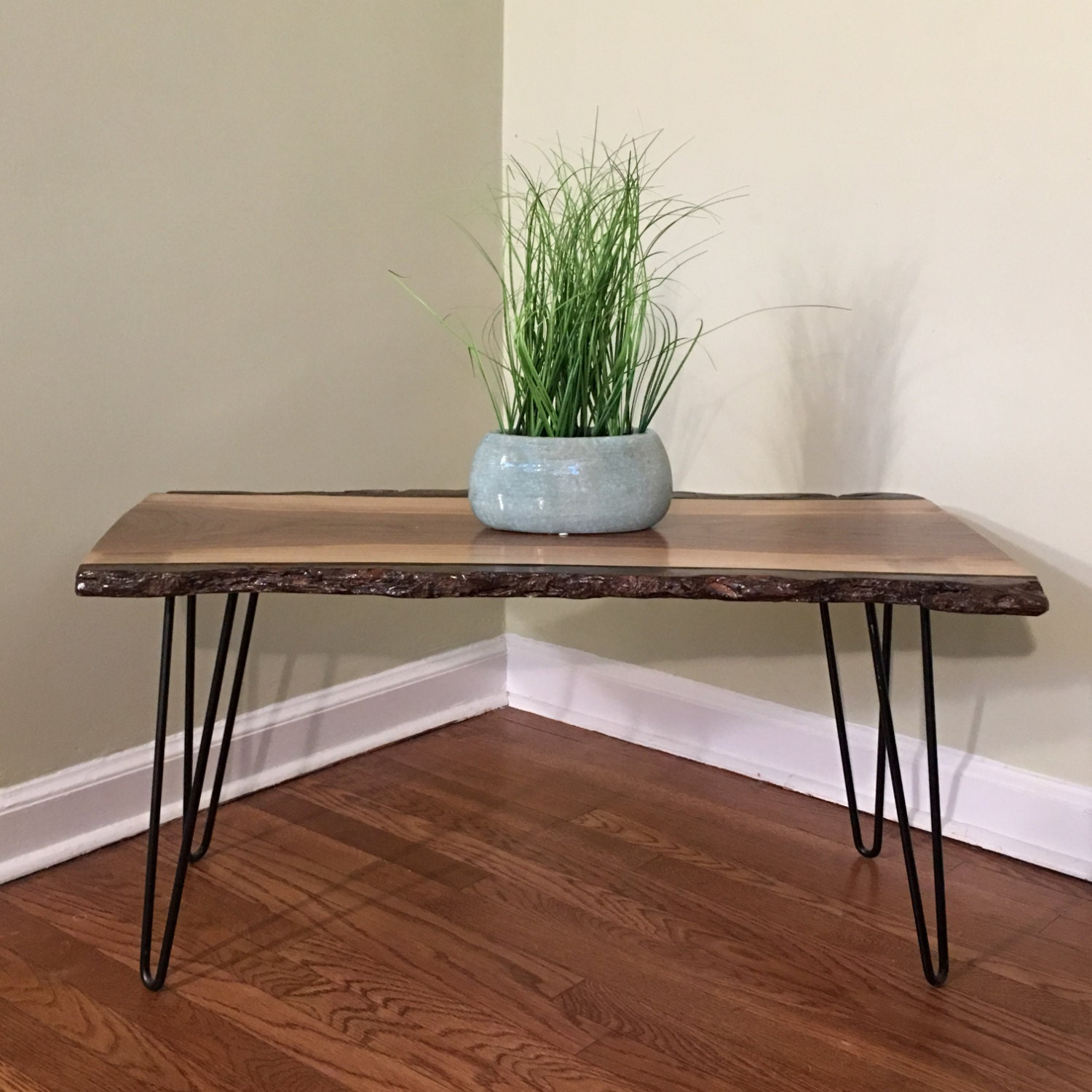 Solid Walnut coffee table hairpin legs table live edge