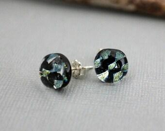 Sterling Silver Stud Earrings - Unique Stud Earrings - Womens Stud Earrings - Handmade Earrings - Dichroic Glass Earrings - Unique Gift