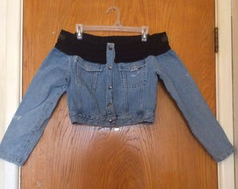 Contempo Casuals Vintage Paris Blues Off The Shoulder Denim Jacket Large