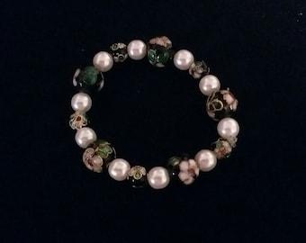 Black, pearl, cloisonne bead bracelet