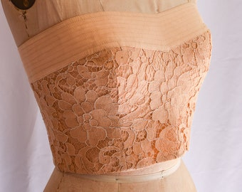 1980s Bustier   Carmelo Pomodoro   Vintage 80's Strapless Top Peachy Beige Alencon Lace Top with Linen Band Topstitching 80s Designer Size S