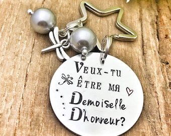 Hand Stamped Veux tu être ma Demoiselle d'Honneur?, Personalised French Bridesmaid Keyring