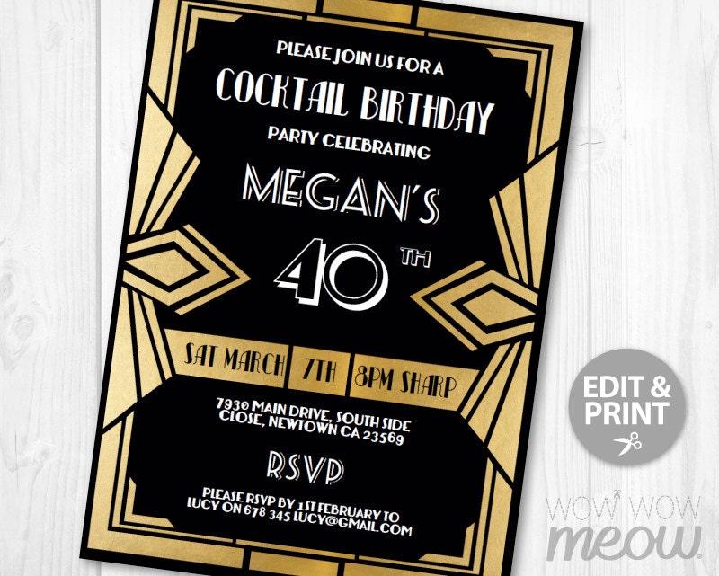 40th Surprise Invitation 1920s Gold Birthday Invite Art Deco