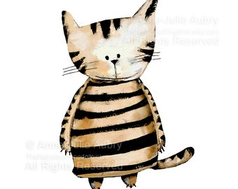 Striped Cat - open edition print - Whimsical Art