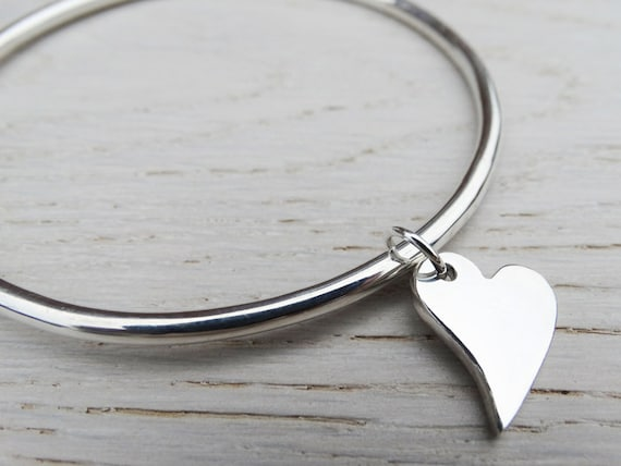 Solid Silver Bangle & Heart - Irregular Heart - Sterling Silver