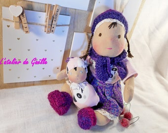 waldorf doll 13 inch. , baby waldorf , carded wool, waldorf family , natural fibers , organic doll , rag doll , natural doll , tiny doll