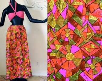 Space Age MOD Maxi Skirt Vintage 1960s 60s Tiki Mosaic Stained Glass Print Neon Colors & Olive Green 1970s 70s Hippie Festival Outfit Sm Med
