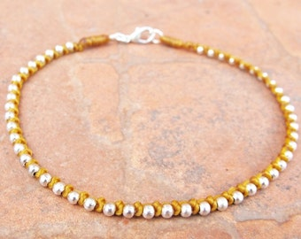 Beige Chain Ankle Bracelet with Silver Color Bead