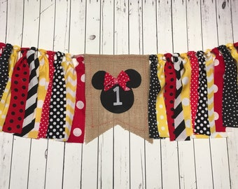 WEEKEND SALE Ends Sunday Birthday Banner Girls Mickey Mouse Highchair Garland/Banner ,Photo Prop, Rag Tie High Chair Banner