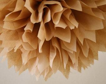 TAN tissue paper pom pom / neutral wedding decorations / kraft decor / tan decorations / baby shower poms / nursery decorations / pompoms