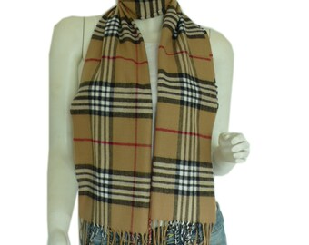 Camel Cashmere Feel Classic Plaid Tassel Ends Long Scarf