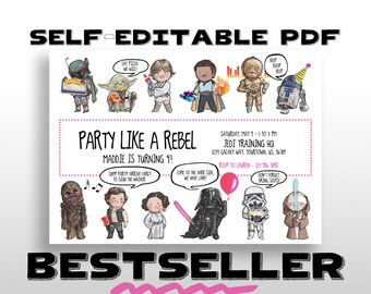 EDITABLE PRINTABLE Star Wars Birthday Invitation with PINK Border, Balloon & Lightsaber for Darth Vader, Party Invite, Instant download, pdf