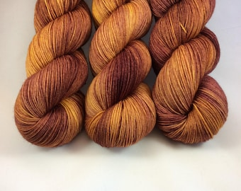 Hand Dyed Yarn - Hand Painted -  Brandywine - Gold - Burgundy - Dyed to Order