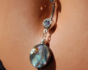 """Belly Ring/  Belly Jewelry / - Sterling Silver and Abalone / """"For the Love of the Sea"""""""