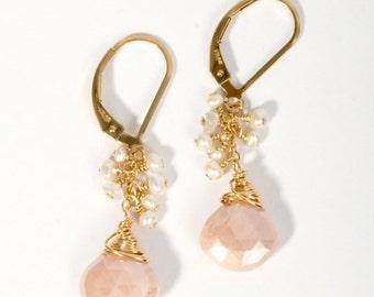 Wire Wrapped Earrings, Cluster Earrings, Gemstone Earrings, Stone Earrings, Long Skinny Earrings, Moonstone, Moonstone Earrings, Pink Stone