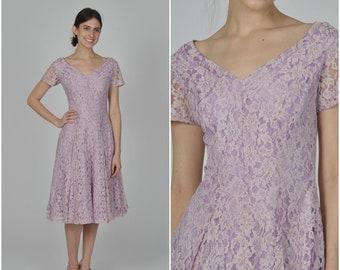 1960s Lavender Lace dress | vintage 1960s dress | floral print 60s dress