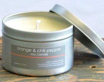 Orange & Chili Pepper Soy Candle Tin 8 oz. - summer soy candle - fresh scent candle - orange soy candle - unisex soy candle